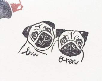 Pets in group Rubber stamp/ handmade stamp/ hand carved/ custom made/ customized/ dog stamp/ bunny stamp/ dogs stamp/ bunnies/ cute