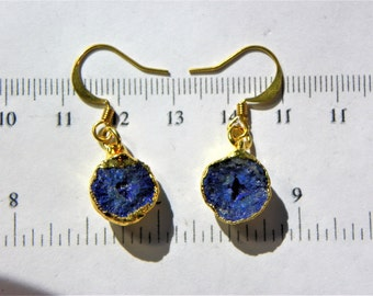 Pair - Azurite Blueberry Nodule earrings (AZU010) measures 12mm x 7mm each Total Weight 4.1 grams and plated in 22 caret gold