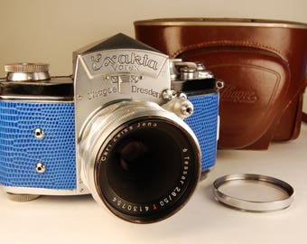Ihagee EXAKTA VAREX VX 35mm German camera. Tessar 50mm lens, Custom lizard skin