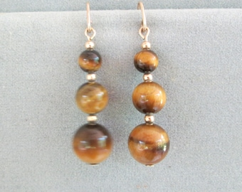 Tiger's Eye and 14K Gold-Filled Beads on Dangle Drop Wire Earrings