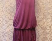 Fabulous 70s does 20s Flapper Silky Purple Drop Waist Dress