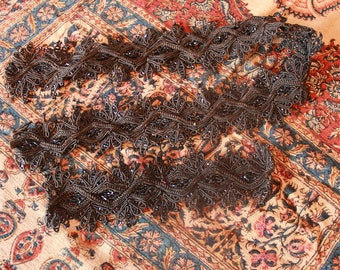 Lot Antique Jet Black Beaded Braided Trim Adornment Victorian Mourning Dress Lace Trim