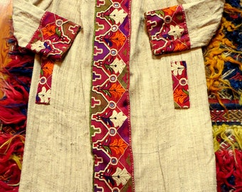 Stunning 1920s Handwoven Raw Silk Banjara/Kuchi Trimmed Linen Coat