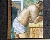 Bear in His Boxers Leaning on His Kitchen Counter, watercolor on Rives BFK paper 11x14 inches by Kenney Mencher
