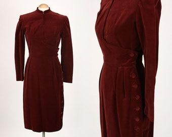 vintage 1940s dress • burgundy VELVETEEN ultra tailored dress