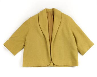 vintage 1950s cropped jacket • short swing coat • GOLDENROD boucle wool