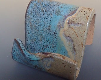 Business Card Holder Cellphone Holder in Pale Turquoise and Ivory