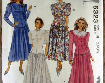 Vintage 1990s Misses Two-Piece Dress with Semi-fitted Jacket and Full Skirt in Sizes 8 10 12 McCalls Pattern 6323 UNCUT