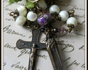 St. Therese Single Decade Pocket Rosary in White Mother of Pearl & Lampwork