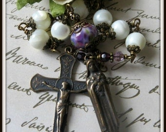 St. Therese Rosary Tenner, Unbreakable Wire Wrapped Rosary, White Rosary in Mother of Pearl, Little Flower Rosary, Pocket Rosary