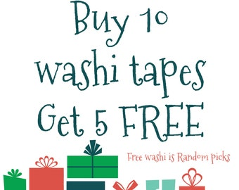 Buy 10 whole rolls of Assorted washi tapes - Any sizes/patterns 10 rolls washi tape of your choice - get 5 free -planner washi tape
