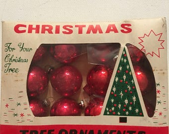Vintage Tree Ornaments Feather Tree W. T. Grant Red Ornaments Japan Mercury Bulbs