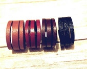 Split Leather Ring Men's leather Ring Women's Ring Wedding band Stacked Leather Ring