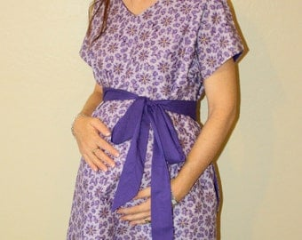 Luke Maternity Delivery Gown - Purple Lavender and Gold - Lined or Unlined - Add to Your Hospital Bag - by Mommy Moxie on Etsy