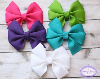 Hair bow set, baby hair bow set, girls hair bows, medium size bows, small hair bow, SET of 5, baby hair bow, girl hair bow, toddler hair bow