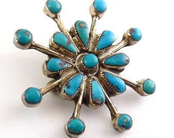 Native American Sterling Silver & Turquoise Sunburst Pin