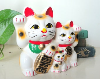 Vintage Japanese Maneki Neko Lucky Cat Family Bank Collectible Japan