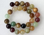 Full Strand Beautiful Tricolor Jade Smooth Round Beads 14mm