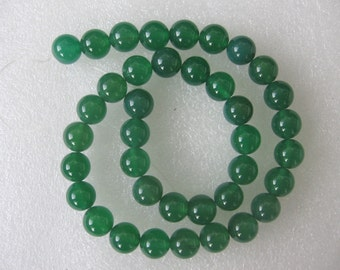Full Strand Green Agate Smooth Round Bead 10mm