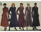 Semi-fitted Coat Pattern, Lined, Slight Flare, Princess Seams, Notched Collar, Double/Single Buttons, Cuffs, Vogue 1266 UNCUT Size 12 14 16