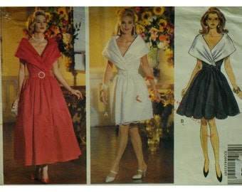 Bias Drape Collar Dress Pattern, Evening Dress, Fitted Bodice, Full Skirt, Sleeveless, Mock Wrap, Belted, Butterick No. 6531 Size 6 8