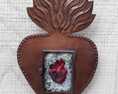Sacred Heart Wall Display with Real Dry Preserved Feline Heart in Bed of Lichen