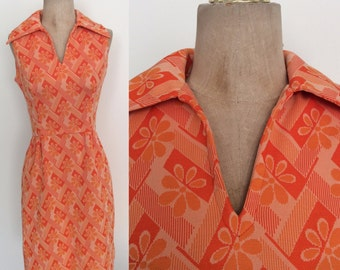 1970's Orange Floral Mod Shirtwaist Dress Size XS/Small by Maeberry Vintage