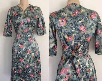 1960's Silky Soft Floral Fitted Dress w/ Waist Tie Size Small by Maeberry Vintage