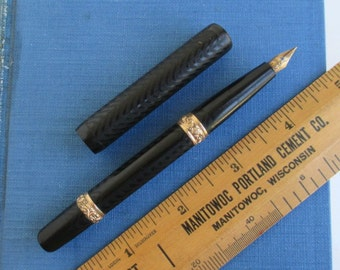 Antique Fountain Pen - Eyedropper, Black Chased Hard Rubber w/ Gold Bands
