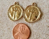 Cross Light or Rose Gold Hammered Pewter Coin Charms