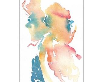 "Original Watercolor, Abstract Art, Multi-color, Meditation, Zen,  Contemporary Art, Turquoise, Teal, Orange 5""X7"", Wall Art, Home decor"