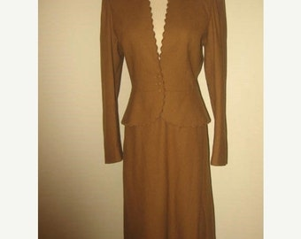 75% Off Sale Vintage 2 PC Brown Wool Skirt Suit/Cassidy/Sz 6