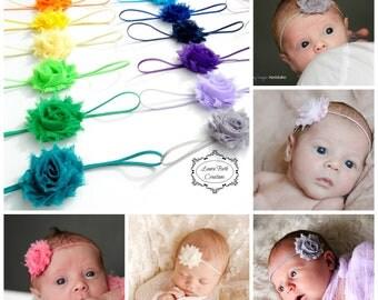Infant Headbands, You Pick 12, MINI Shabby Chic Rose Headband Set, Newborn Headband, Children's Headband, Baby Girl Headband,Baby Photo Prop