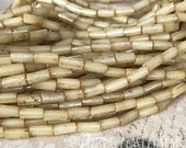 "9mm x 4mm Aged Czech Glass Picasso Bugle Tube Beads - 20"" strand Honey Champagne Opalite - Tribal Bohemian Gypsy Chic - Central Coast Charms"