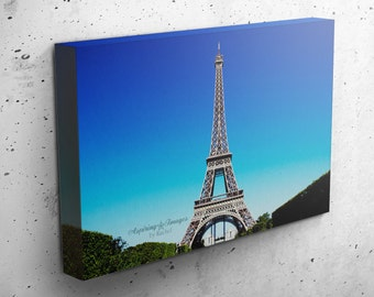 Paris Canvas Wrap, Gallery Wrapped Photo, Paris France Photography, Blue and Aqua Wall Art, Eiffel Tower, Paris Decor, Bedroom Decor