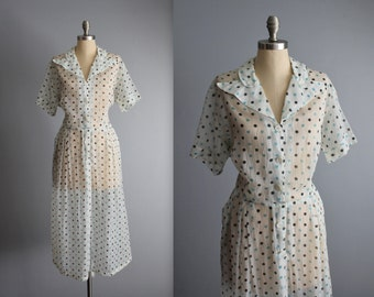 50's Sheer Dress // Vintage 1950's Sheer Polka Dot Print Shirtwaist Garden Party Dress XL