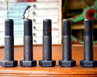 """Giant 6"""" Industrial Steel Bolts Nuts Washers, 100s avail: Large Hardware Paperweights, Assemblage Sculpture, Steampunk Supplies, Table Legs"""