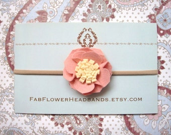 Blush Pink Felt Flower Headband - Baby Headband - Newborn Headband - Girl - Soft Nylon Band - One Size Fits All - Blush Pink and Ivory Cream