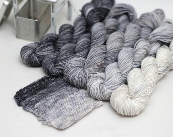 Hand dyed Yarn Silver Sparkle Sock Mini Skeins, Gradient, 87 yards each skein, Beach Stones