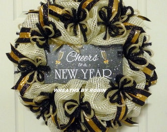Happy New Years, New Years Eve Wreaths, Black Gold Silver Wreaths, Deco Mesh Wreaths