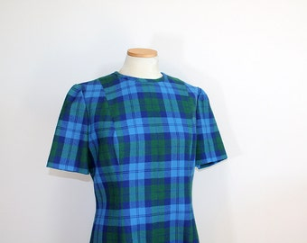 1960s Blue Plaid Wool Dress Aldean // Medium
