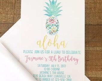 12 pineapple birthday invitations, watercolor floral pineapple party invites, girl hawaiian invitations, luau birthday invite with envelopes