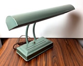 Vintage 1940s-1950s Era Seafoam Green Double Goose Neck Industrial Desk Lamp/Mid Century Lamp