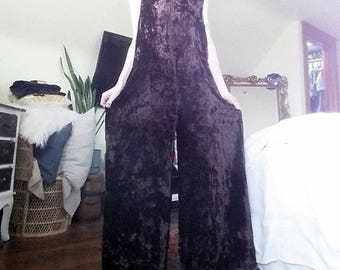 Rene Dehry Lovely Heavy Brown Crushed Velvet Jumpsuit with Wide Legs and Zipper S-M