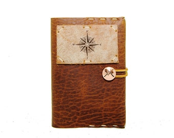 Small Leather Journal with True North Compass in Whiskey Ember