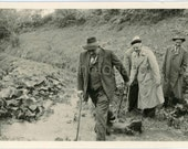 Vintage Photo, Hikers Crossing a Stream, Walking Sticks, Raincoats, Men's Hats, Black & White Photo, Found Photo, Old Photo, Germany