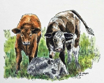 "Three calf original watercolor painting 6""x5"" animal art pen and ink cattle cow farm country rural art orange brown green"