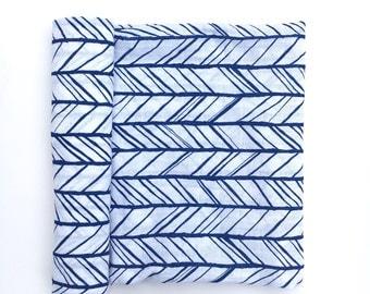Muslin Swaddle Blanket- NAVY HERRINGBONE- receiving blanket- navy swaddle blanket- cotton blanket- baby blanket- newborn wrap- boy baby