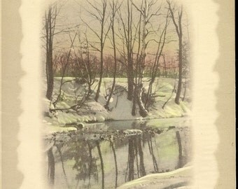 Vintage Christmas Card Snowy Riverside Image Entitled Reflections 1945
