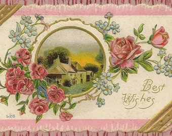 Vintage Best Wishes Postcard Faux Bois Pink Roses Forget-me-Nots and Country Cottage – Elegant Embossed Design